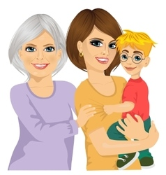 happy grandma mother and her son vector image