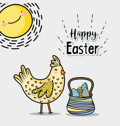 Hen and sun with eggs easter inside hamper vector