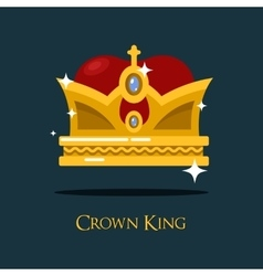 Heraldic king or queen majesty golden crown vector