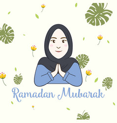 Hijab girl ramadan greeting card vector