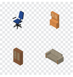 Isometric design set of office cupboard couch vector
