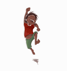 jumping laughing boy in a red tee-shirt and green vector image vector image