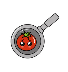Kawaii cute happy tomato vegetable inside skillet vector