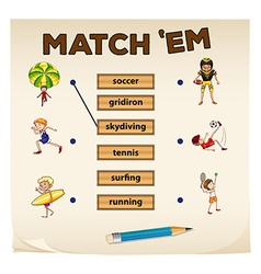 Matching game with sport and people vector