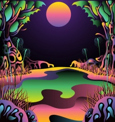 Psychedelic forest landscape vector illustration vector