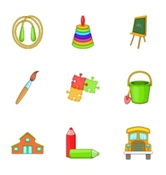 School years icons set cartoon style vector
