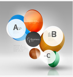 shiny circles with text in 3d space vector image