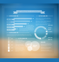 Summer infographic template with graphs elements vector