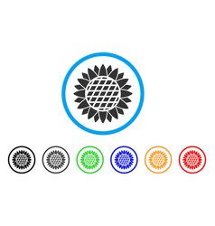 sunflower flower rounded icon vector image