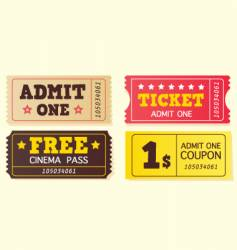 vintage cinema tickets vector image vector image