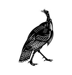 Wild turkey done in retro style vector