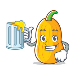 With juice butternut squash mascot cartoon vector