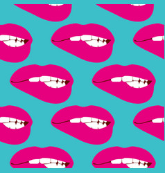 woman biting lip seamless pattern vector image
