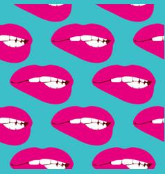 Woman biting lip seamless pattern vector