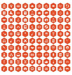 100 student icons hexagon orange vector