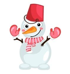 Cartoon snowman with bucket on head and scarf vector image