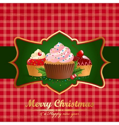 Christmas vintage background with pastry vector