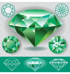 Green diamond emerald gemstone vector