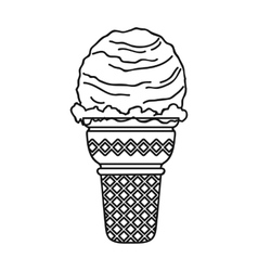 Ice cream in waffle cup icon in outline style vector