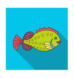 Sea fish icon in flat style isolated on white vector