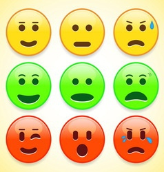Set of colourful emoticon icons vector