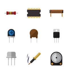 Flat electronics set of bobbin receiver triode vector