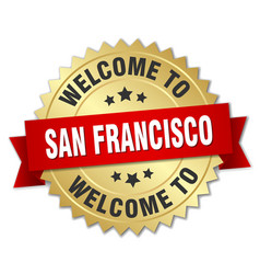 San francisco 3d gold badge with red ribbon vector