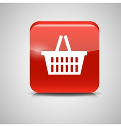 Shopping glossy basket icon vector