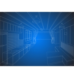 Kitchen wireframe on a blue background vector