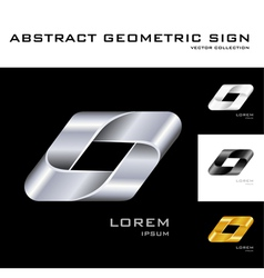Geometrical sign logo design template black white vector