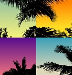 Palm tree set with twilight sky vector