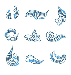 Water drop and splash eco icon set vector