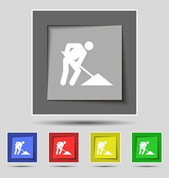 Repair of road construction work icon sign on vector