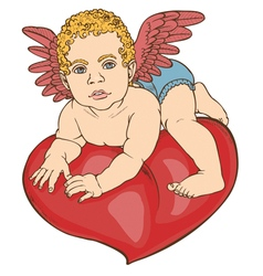 Cupid baby heart color vector