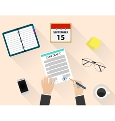 Business man document signing up contract vector