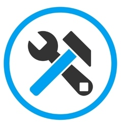 Hammer and wrench rounded icon vector