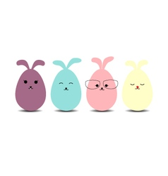 Easter eggs rabbit flat syle icons vector