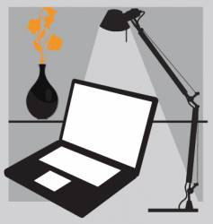 Desk laptop vector