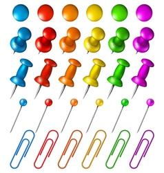Set of multicolored pushpins vector