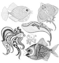 Hand drawn zentangle fishes whale octopus vector