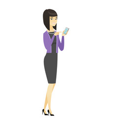 asian business woman holding a mobile phone vector image vector image