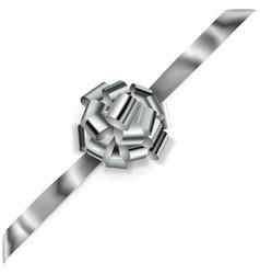 Big corner bow of shiny ribbon vector