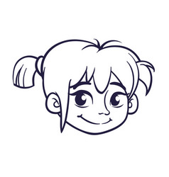 Cartoon small girl head outlines vector