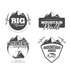 Climbing trekking hiking mountaineering retro vector