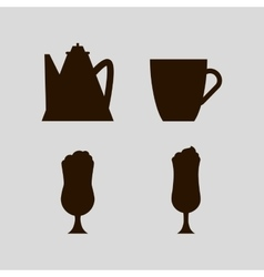 Cups and jugs silhouettes vector