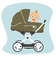 Cute baby peeks out from stroller pram vector