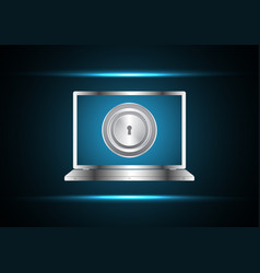 Cyber security keyhole laptop vector