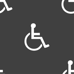 disabled icon sign Seamless pattern on a gray vector image vector image