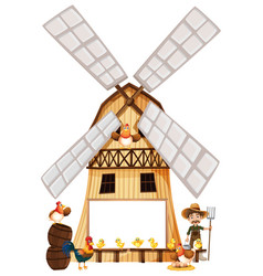 Farmer and chickens on windmill vector