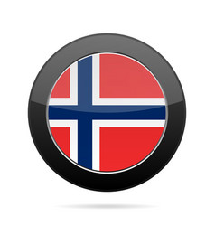 Flag of norway shiny black round button vector